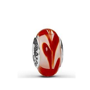 Pandora Retired Murano Red Swirly Swirl Charm